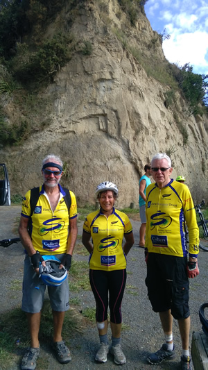 Top of the Gentle Annie. near Wanganui on the Mountain to Sea tour.  Geoff, Bev and John M.